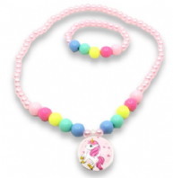Unicorn bead necklace and bracelet set (Code 4322)